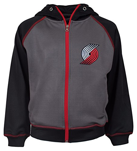 Majestic NBA Youth Polyester Primary Team Logo Fleece Track Jacket (Blazers, Large)