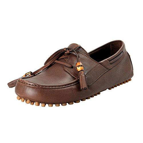 Gucci Men's Brown Leather Moccasins Slip On Driving Shoes Sz US 11.5 IT 9.5 EU 44.5