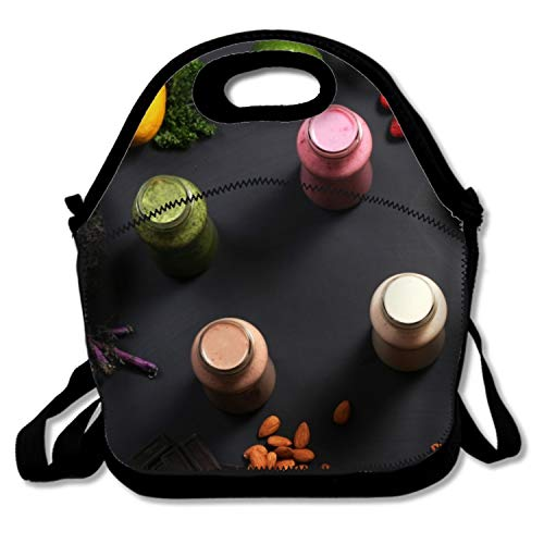 (Smoothies Fruit Banana Apple Orange Nuts Chocolate Mango Lemon Lime Blackberry Raspberry Thermal Lunch Tote Bag Kids Lunch Box and Food Container, Insulated Soft Lunchbox)