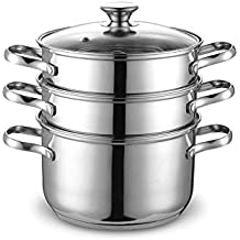 Cook N Home 4 Quart/8-Inch Double Boiler and Steamer Set, Stainless Steel