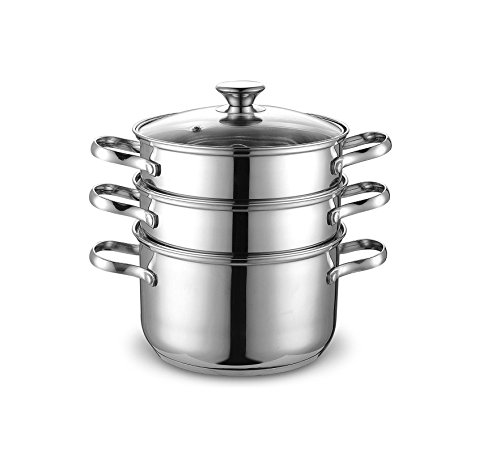 Cook N Home 4 Quart/8-Inch Double Boiler and Steamer Set, Stainless Steel Stainless Boiler