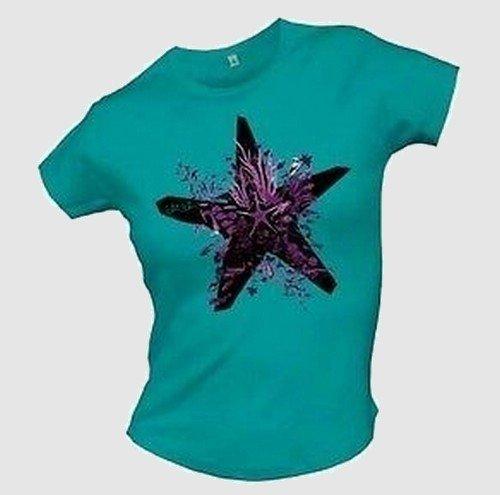 Price comparison product image Ich + Ich - Stern / Star Girlie Shirt Türkis / Turquoise - Größe / Size: M