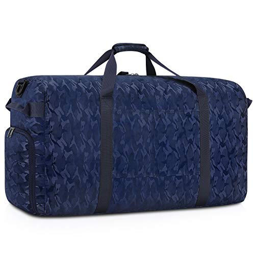 Gonex 100L Foldable Duffel, Packable Luggage Duffle Bag Lightweight Water Repellent & Wear Resistant, Packable Luggage Duffle Bag Lightweight Water Repellent & Wear Resistant Black and Blue Camouflage