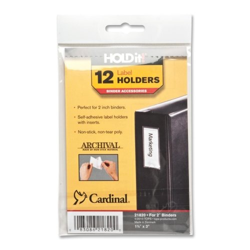 Cardinal Self-Adhesive Label Holders for Binders, 1.38 x 3 Inches, Clear, 12 per Pack (21820)
