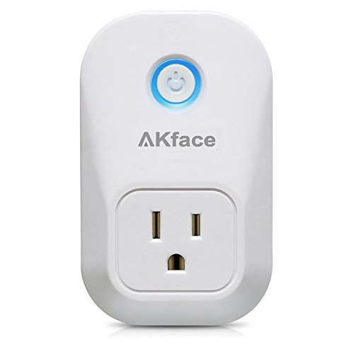 Akface Wifi Smart Plug Socket , Wireless Remote Control Electrical Outlet Switch for Household Appliances, No Hub Required , for iOS Android (iPhone iPad ,Samsung LG)