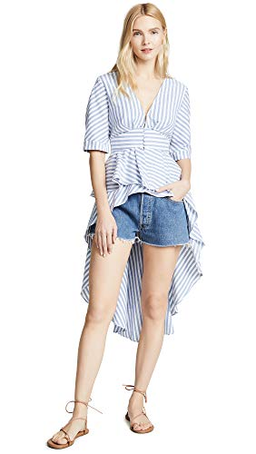 English Factory Women's Striped High Low Top, Blue, Large