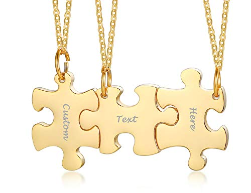 VNOX Personalized Custom 3/4/5 Piece Heart Puzzle Piece Necklace Set BBF Friendship Necklace for 3/4/5