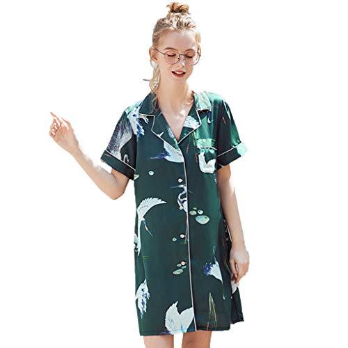 RAINED-Women Home Nightgown Summer Short Style Printed Silk Sleepshirts Sleepwear Satin Pajamas Sleepshirt ()