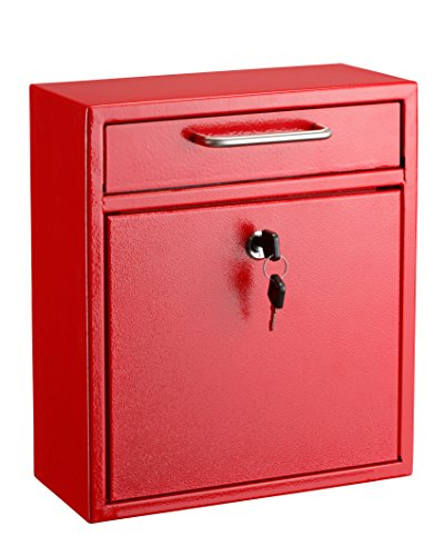 AdirOffice Locking Drop Box – Wall Mounted Mailbox – (Medium, Red)