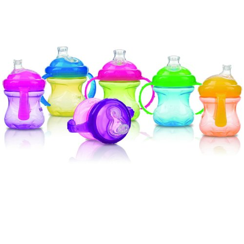 Nuby 2-Pack Two-Handle No-Spill Super Spout Grip N' Sip Cups, 8 Ounce, Colors May Vary