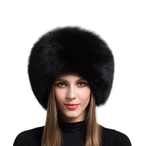 Hat Fur Quilted (Women's Real Fox Fur hat Winter Thick Fur hat Natural Fur and Sheepskin Warm hat (55-60cm, Black))