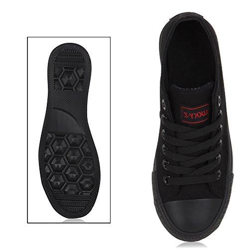 Zapatillas planas, unisex, deportivas Schwarz Schwarz Nero