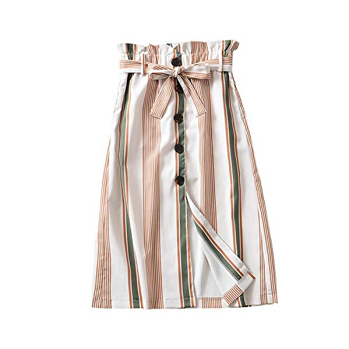 Crunchy Candy Stripe Midi Skirt Women 2019 Fashion A Line Button Bow Tie Sashes Office Ladies Skirts, L
