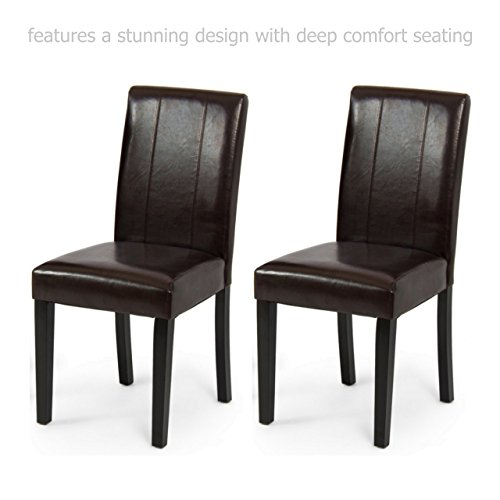 Modern Elegant High Backrest Dining Chairs Sturdy Hardwood Legs Unique PU Leather High Density Padded Seat Home Office Furniture - Set of 2 Brown - Joondalup Doctors