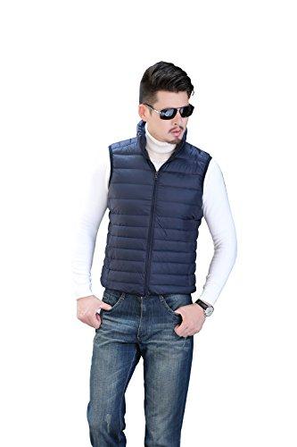 Warm Quibine Outdoor Lightweight Dark Down Men's Coat Vest Blue pwHwO5Aqx