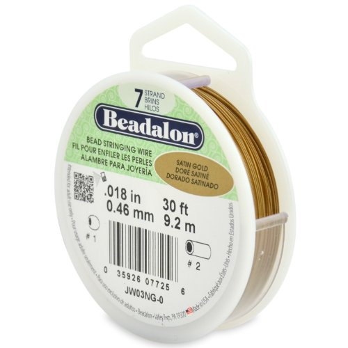 Beadalon 7-Strand Stainless Steel 0.018-Inch Bead Stringing Wire, 30-Feet, Satin Gold ()