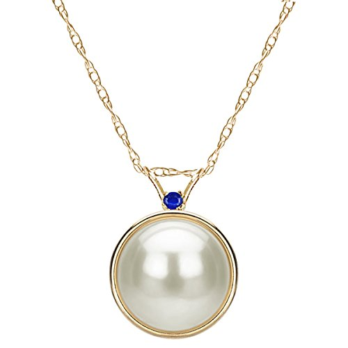- 14k Yellow Gold 2mm Simulated Sapphire 9-9.5mm Freshwater Cultured Pearl Bezel Design Pendant, 18