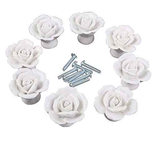 CSKB White Flower Rose Door Knobs + Screw Floral Vintage Ceramic Kitchen Pull Handle Knob Home Modern Style Cupboard Pulls Drawer Knobs and Handles (Drawer Pulls Flower)
