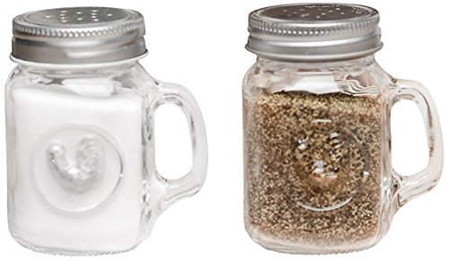 Circleware Rooster Mason Jar Mug Glass Salt and Pepper Shakers with Glass Handles and Metal Lids, Set of 2, 5 oz., Clear (Rooster Pepper)