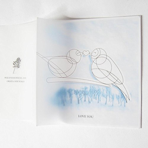 DIY painted Card- Love Bird for Valentine's Day and Lover, Exclusive Card to Express Your Love, Forest in Snowy Winter