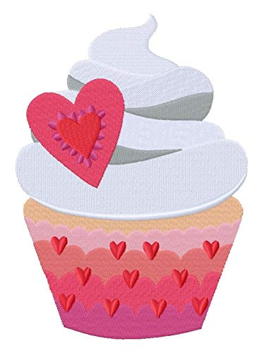 February Heart Cupcake (4.85 x 6.80 inches) Iron-on Patch - Iron on Patch - Embroidered Patch - MADE TO ORDER