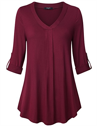 Lotusmile 3/4 Sleeve Shirts for Women,Womens V Neck 3/4 Cuff Sleeve Pure Color Pleated Casual Blouse Tops Lightweight Work Wear Tunic Shirt,Wine XXL from Lotusmile