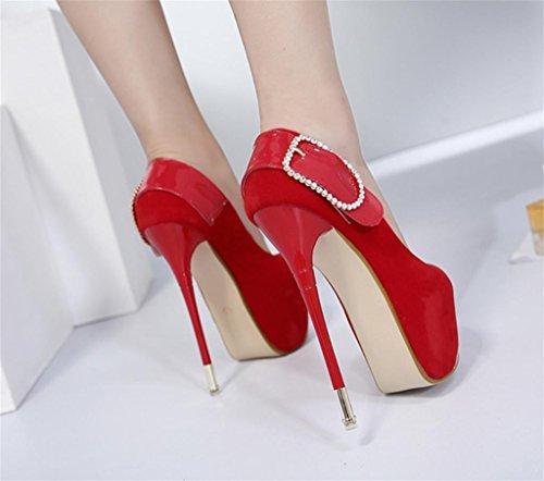 Talons Red Pompes Pointed Contrast Tempérament Court Shoes Work Élégantes Taille de Womens personnalité Chaussures Smart Party HETAO Heel High Ladies pdRFpwxq