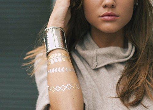 TribeTats Metallic Tattoo Bracelets | Henna Inspired Metallic Tattoo Set | Premium Festival Accessories| No Scissors Required | Body Art Lasts 1 Week | Waterproof, Sweatproof and Non-Toxic | 4-Sheets