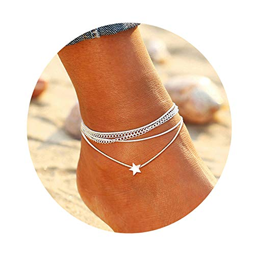 FAXHION Silver Multilayer Star Anklet - Cute Anklets for Women - Summer Beach Casual Anklet Chain Foot Jewelry Barefoot Sandals