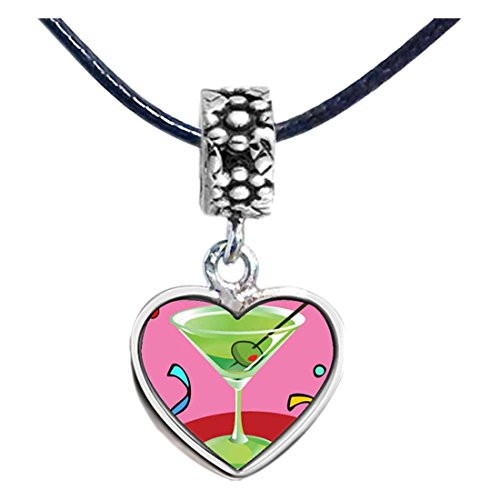 (GiftJewelryShop Silver Plated Goblet Photo Flower Head Dangle Heart Bead Charm Bracelets)