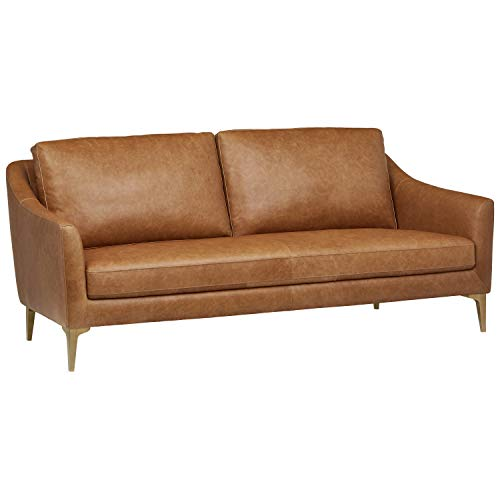 Rivet Alonzo Contemporary Modern Leather Sofa Couch, 80