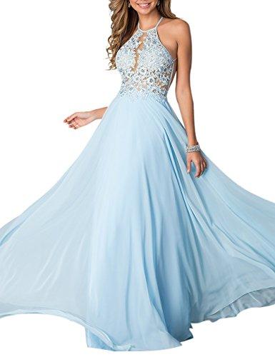 Firose Women's Illusion Lace Halter A-line Long Chiffon Prom Dresses 2 Light Blue