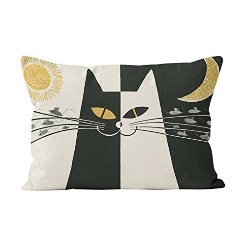 Suklly Romantic Vintage Black and White Cat Hidden Zipper Home Decorative Rectangle Throw Pillow Cover Cushion Case Boudoir 12x20 Inch One Side Design Printed -