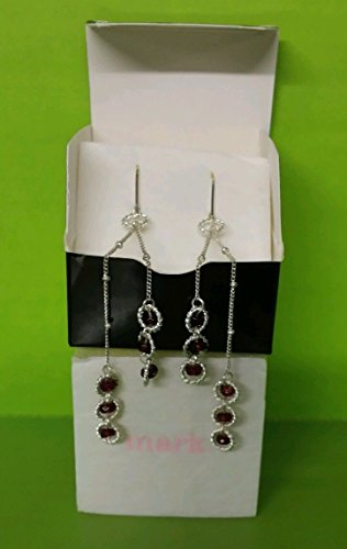 Mark Avon the Long and the Short of It Earrings Silver Finish with Magenta (Avon Strand Earrings)