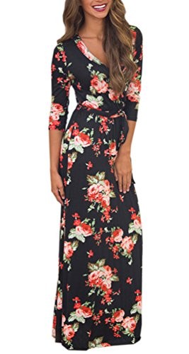 Womens Summer Floral Print Faux Wrap Maxi Long Dresses with Belt ()
