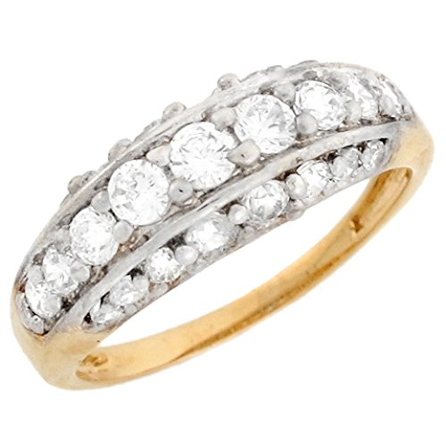 10k Two Tone Real Solid Gold C