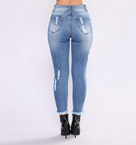 dchir 003 de Jean en Skinny Haute Taille Blue Pantalon Jogging 8a8qTxw4U
