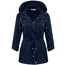 Meaneor Women Waterproof Lightweight Rain Jacket Outdoor Hooded Raincoat