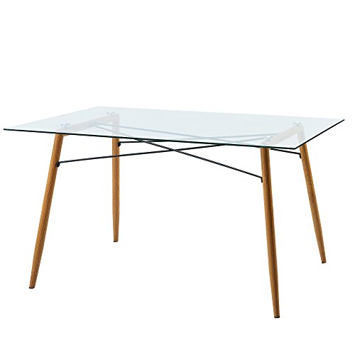 Versanora VNF-00026 Minimalista Dining Tables, Glass Top/Wood Grain Leg