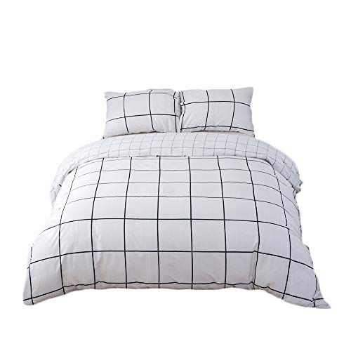 - CLOTHKNOW White Balck Grid Plaid Bedding Sets Queen for Boys Teens Girls Duvet Cover Sets Full Checkered Geometric 100 Cotton Simple Style 3 Pieces -1 Duvet Cover with Zipper Closure 2 Pillow Sham
