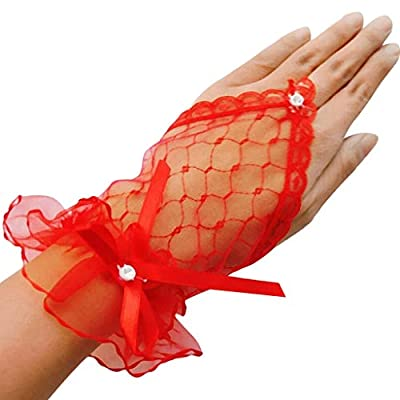 QingFan Lace Gloves Fingerless Elegant Fancy Dress Hen Party for Women Wedding Short Prom