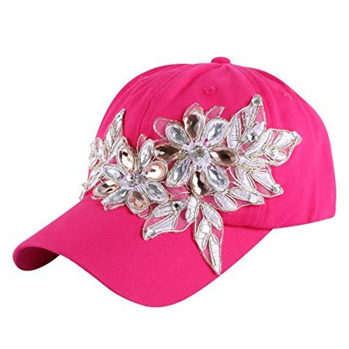野球帽 ラインストーンのクリスタル デニムキャップ 女性 ヒップホップ帽子,フクシア,サイズ56-60 cm,15歳から大人まで