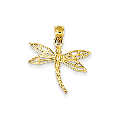 14k Yellow Gold Dragonfly Pendant, (14k Dragon Pendant)