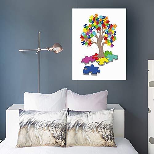 InnoDIY Canvas Prints Wall Art Puzzle Pieces Autism Awareness Colors Healthcare Medical People Month Day Modern Artwork Painting 16 x 20 Home Decor Bedroom Living Room Office
