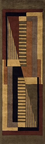 - Momeni Rugs NEWWANW-06POM2680 New Wave Collection, 100% Wool Hand Carved & Tufted Contemporary Area Rug, 2'6