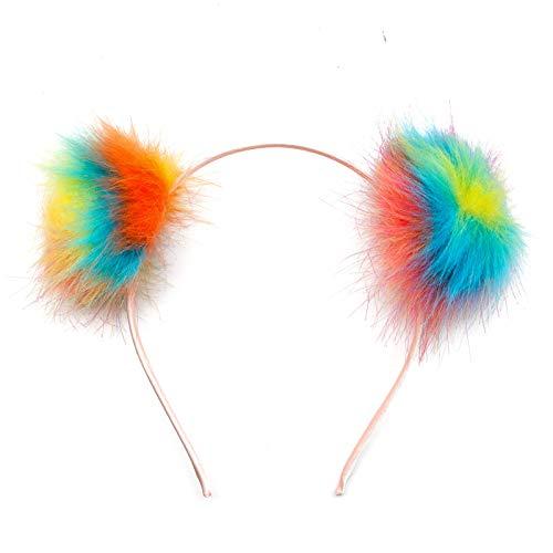 AQUEENLY Pom Pom Headband for Girls Women, Pompom Puff Headband Cat Ear Ball Hair Hoop, Random Color