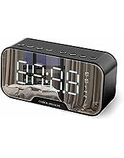 ساعة منبه رقمية من نيبي مينينت، سماعات بلوتوث لاسلكية للايفون، ساعة LED رقمية في المرآة ومنفذ شحن USB 1400 مللي امبير في الساعة، راديو اف ام الكل في واحد، حامل الموبايل، مرآة عاكسة، درجة الحرارة
