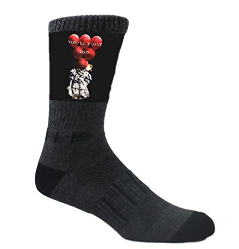 MOXY Socks Black You'll Float Too IT Clown Athletic Crew Socks -