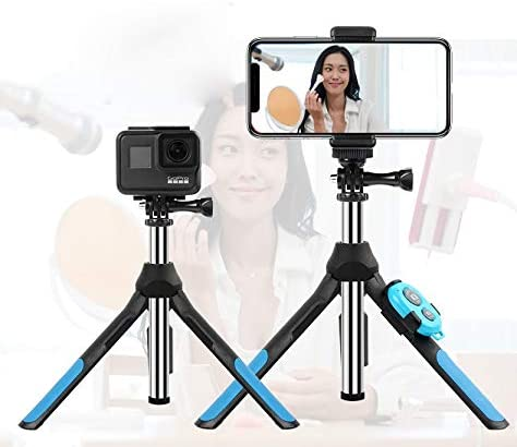 Selfie stick Multi-functional Foldable Tripod Holder Bluetooth Remote Control Selfie Stick Monopod for GoPro HERO7 //6 //5 Session //5 //4 Session //4 //3+ //3 //2 //1 Bl Length: 19-93cm Xiaoyi Sport Cameras