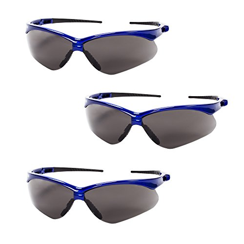 Jackson Safety V30 47387 Nemesis Safety Glasses (3 Pair) (Metallic Blue Frame with Smoke Anti-Fog ()